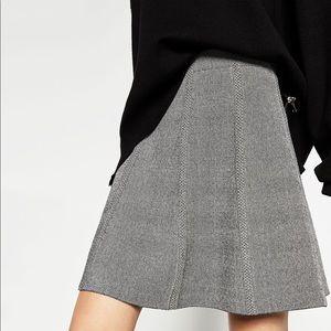 New Zara A Line Gray Black Short Skirt Basic Trend